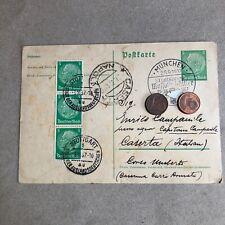 M) postal entire GERMANY CANCELLATION Special Monaco 1937 visit Mussolini