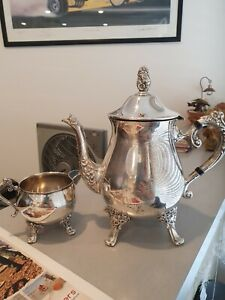 Silver Plated Teapot, and Creamer Set