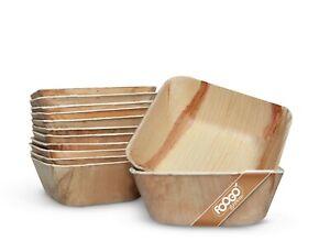 FOOGO Green Disposable Palm Leaf Bowls Wooden Salad Dessert Eco friendly Dinner