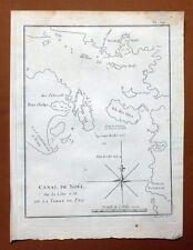 CARTE VUE DU CANAL DE NOEL SUR LA TERRE DE FEU Gravure Voyage de COOK James 1778