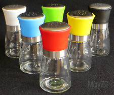 Glass Spice Jar Set Six Coloured Lid Blue Red Black White Green Yellow Kitchen