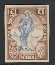 MALTA-1922-26 - £1 printers sample in blue and brown on card