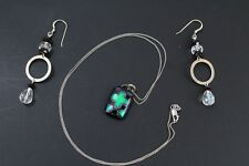 Lot of Two STERLING SILVER 925 Dichroic Glass Pendant Necklace + Dangle Earrings