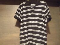 Old Navy MENS Shirt Gray White Black Striped Polo Mens Cotton SIZE LARGE