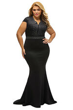 Black Plus Size Rhinestone Bodice Evening Cocktail Party Dress Size XL XXL XXXL