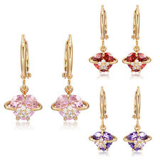 Child Baby Girls kids Security Crystal Heart Cute Hoop earrings 14K Gold Filled