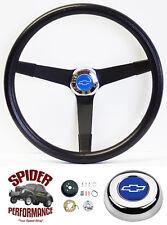 """1974-1994 Chevy pickup steering wheel BLUE BOWTIE 14 3/4"""" VINTAGE BLACK Grant"""