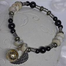 edles Armband Opal ONYX Turmalin Engelrufer + Engelsflügel 925 Silber Klangkugel