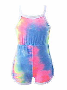 Kids Girls Jumpsuit Tie Dye Print Top High Waist Shorts Bottom Casual Bodysuit