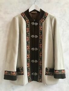 NORDSTRIKK Cream Brown Embroidered Norwegian Pure Wool Nordic Cardigan M/L