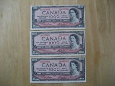 Canadian 1954 consecutive $1000 bank notes, 3 pieces. Crisp Uncirculated.