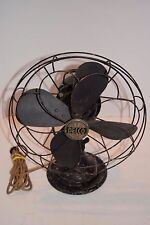 "Vintage 1940's Delco 12"" 3-Speed Oscillating Table Fan - Works"