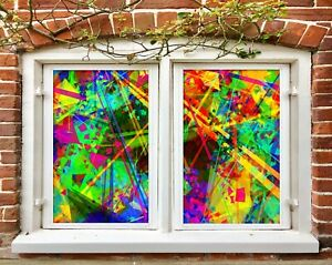 3D Psychedelic Lighting R205 Window Film Print Sticker Cling Stained Glass UV Su