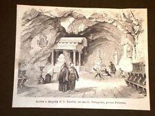 Grotta e Cappella di Santa Rosalia nel 1869 Monte Pellegrino Palermo Sicilia