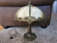 Signed Antique Art Nouveau Metal Carmel Slag Stained Glass Table Lamp Victorian