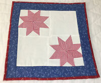 Patchwork Quilt Wall Hanging or Table Topper, Stars, Red Checks & Blue Calico