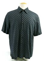 Nat Nast Men's Short Sleeve Casual Shirt Silk Cotton Size Large Navy Blue
