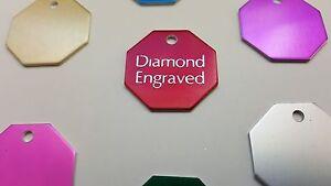 PET TAG OCTOGON SM(2.4CM) ID DOG TAG 2-SIDE PERSONALIZED DIAMOND ENGRAVED CUSTOM