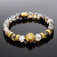 DouVei Fashion Women 8MM Natural Stone Lion Buddha Beaded Men's Charm Bracelets