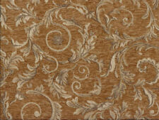 Drapery Upholstery Fabric Chenille Jacquard w/ Scrolling Leaves - Honey