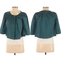 Apt. 9 Womens Cape Jacket Small Green Satin Lined Button Open Front 3/4 Stretch