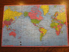 VINTAGE WOOD RAND MCNALLY THE WORLD MAP WOOD WOODEN JIGSAW PUZZLE COMPLETE