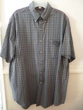 Men's David Taylor short sleeve navy/white/brown check 100% cotton shirt size L
