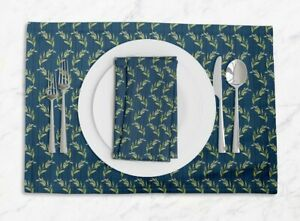 S4Sassy Stripe & Leaves Dining Room Reversible Tablemats With Napkins set-LF-8D