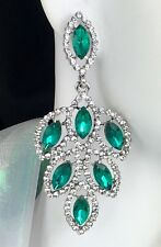 """Lovely! 2.75"""" Green Crystal Drop Earrings, Drag Queen, Prom, Bridal, Pageant"""