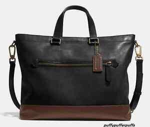 NWT Coach Bleecker Urban Commuter Colorblock Leather Brass Black Mahogany F71453