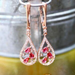 Lab Made Pink Ruby Earrings 14k Rose Gold Vermeil , July Birthstone