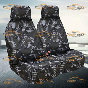 Car Van Seat Covers Heavy Duty Grey Camouflage 1+1 100% Waterproof  Front Seats