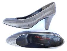 CHARLES JOURDAN escarpins cuir gris et surpiqures noires P 38½ TBE