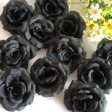 "20x Black Rose Heads Artificial Silk Flower Hair Clips Wedding Decor 2.75"""