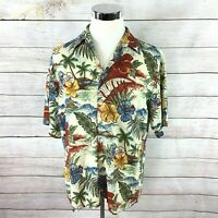Pierre Cardin Hawaiian Camp Shirt Large Floral Palm Trees Islands 100% Rayon EUC