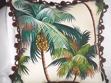 "14"" Tropical Cotton Barkcloth Fabric ACCENT PILLOW ~Palm Tree-Vintage Pom-Poms~"