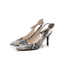 Women's Sandals Snakeskin Print Slingbacks Kitten Heels Pointed Toe Casual Shoes