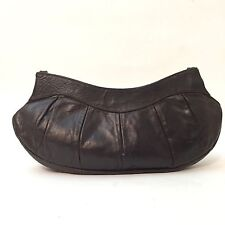 """Vintage ABACO Paris France Brown Leather Pleated Clutch Bag Purse 12"""" X 5"""" Small"""