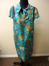 GUCCI Blue Brown Beige Silk Shell Print Tie Front Shift Dress Size 44 HH4016