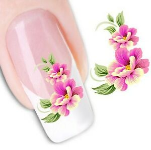 Nail Art Sticker Water Decals Transfer Stickers Pink Flowers (XF1023)