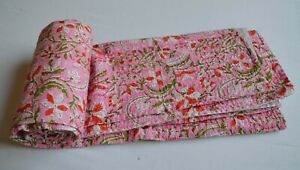 Beautiful Soft Printed Cotton Kantha Quilt Twin Size Bedspread Bedding Coverlet