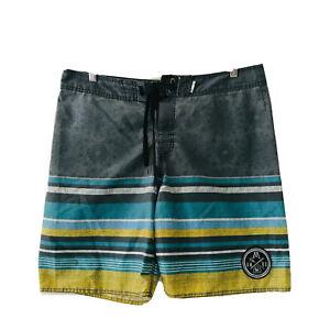 Mambo Mens Board Shorts Size 36 Large Grey Striped Swim Beach Surfing Boardie
