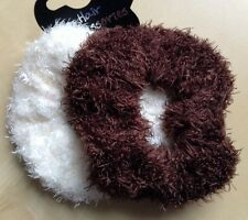 A Two Pack Of Cream And Brown Soft Touch Shaggy Hair Scrunchies / Bobbles