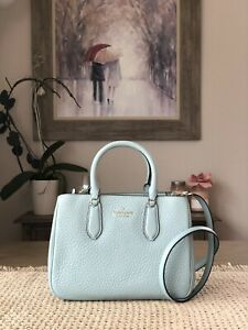 KATE SPADE LEIGHTON SMALL SATCHEL SHOULDER TOTE BAG FROSTED SPEARMINT LEATHER