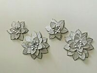 S/2  Flower Hanging Distress Vintage Style Ornament Daisy Metal White Wall art