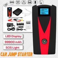 99900mAh 12V Arrancador De Coche Emergencia Cargador De Batería Jump Starter LCD