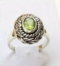 Sterling Silver Oval Peridot Ring Size Just Under 6.