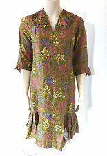 Vintage 1920s 20s Vestido Floral de Seda? hecho a mano día tamaño de Reino Unido Talla 10 - 12