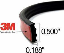 """ESI Ribbed Rectangle Rubber Seal .187"""" H 500"""" W 25' L EPDM Foam Tape Rubber Seal"""