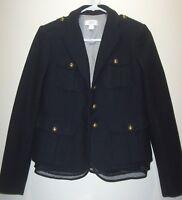 Ann Taylor Loft Navy Military Style Blazer Jacket Sz 0 Wool Blend Chiffon Hem